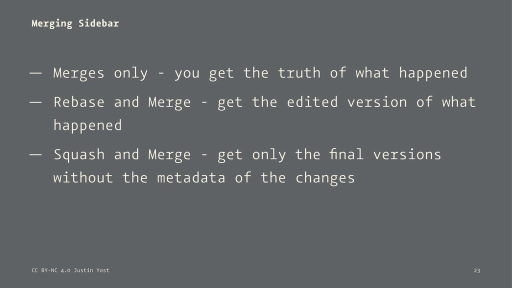 Merging Sidebar — Merges only - you get the tru...