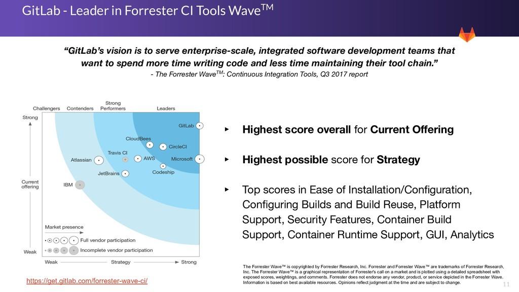 11 GitLab - Leader in Forrester CI Tools WaveTM...