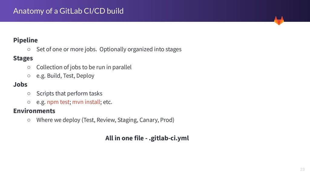 23 Anatomy of a GitLab CI/CD build Pipeline ○ S...