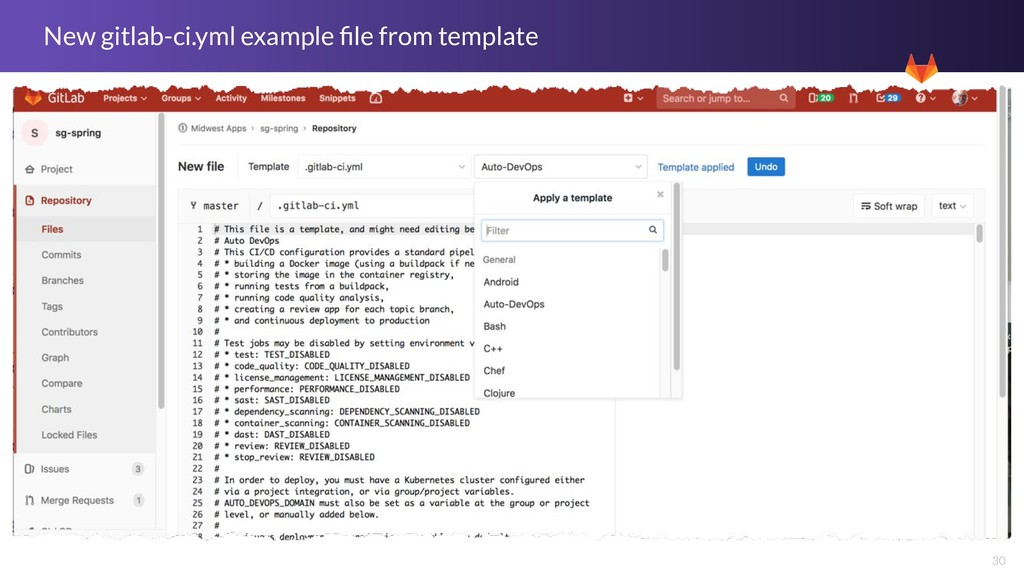 30 New gitlab-ci.yml example file from template