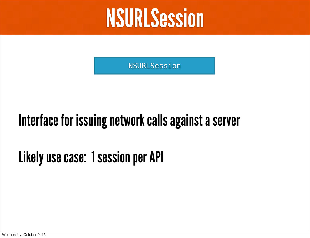 NSURLSession NSURLSession Interface for issuing...
