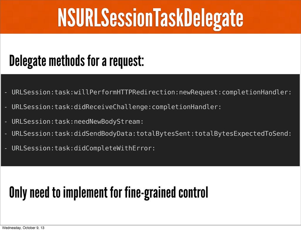 NSURLSessionTaskDelegate Delegate methods for a...