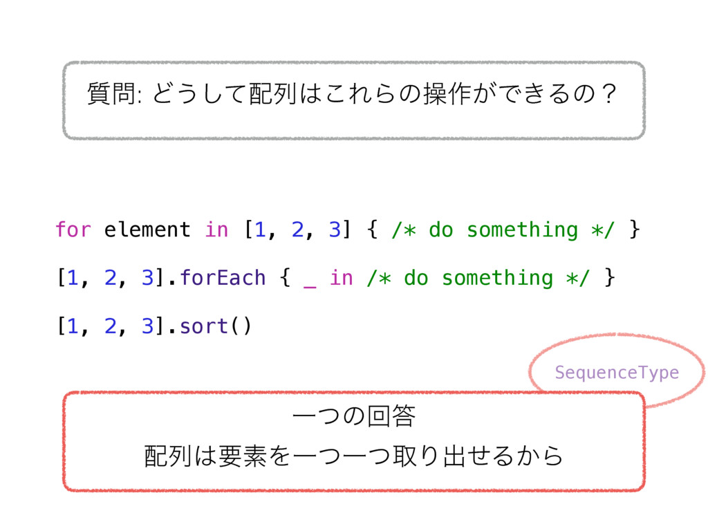 SequenceType for element in [1, 2, 3] { /* do s...