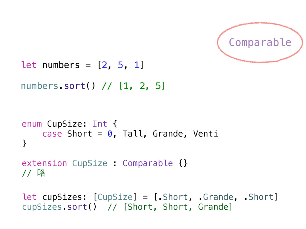 enum CupSize: Int { case Short = 0, Tall, Grand...