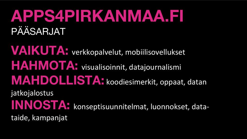 APPS4PIRKANMAA.FI PÄÄSARJAT VAIKUTA: verkkopalv...