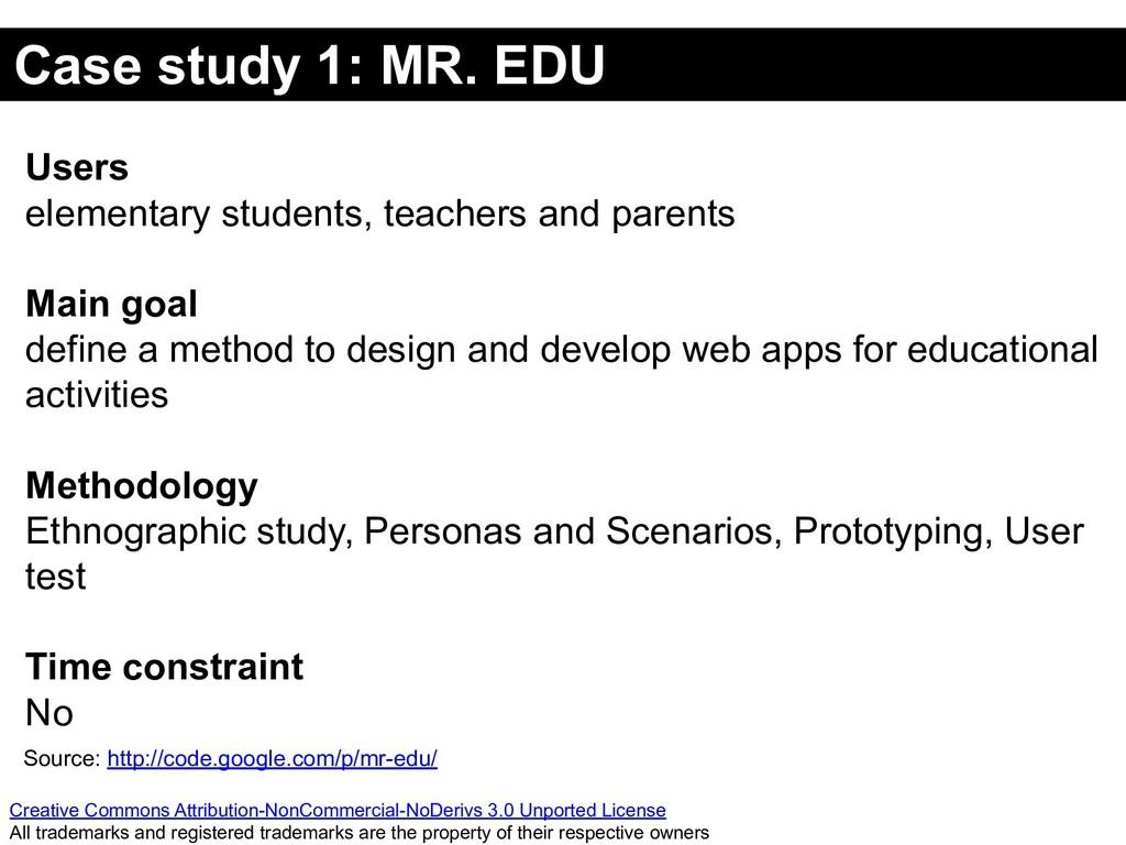 Case study 1: MR. EDU Creative Commons Attribut...
