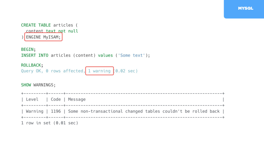 CREATE TABLE articles ( content text not null )...