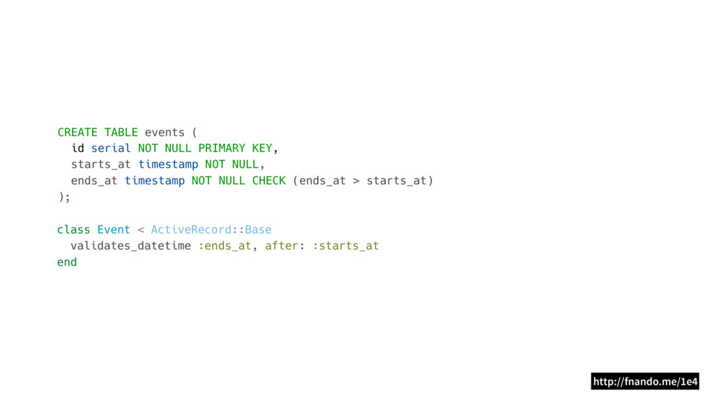 CREATE TABLE events ( id serial NOT NULL PRIMAR...