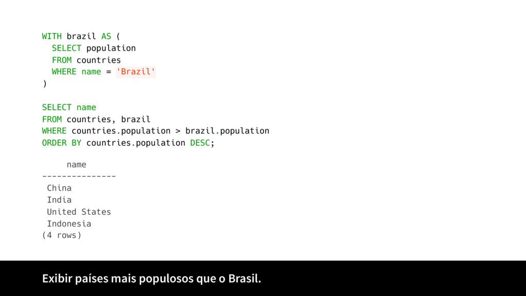 Exibir países mais populosos que o Brasil. name...