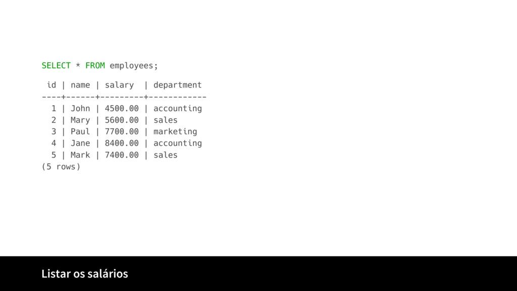 Listar os salários SELECT * FROM employees; id ...