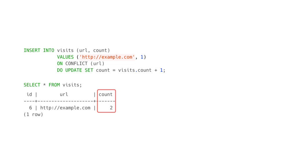 INSERT INTO visits (url, count) VALUES ('http:/...