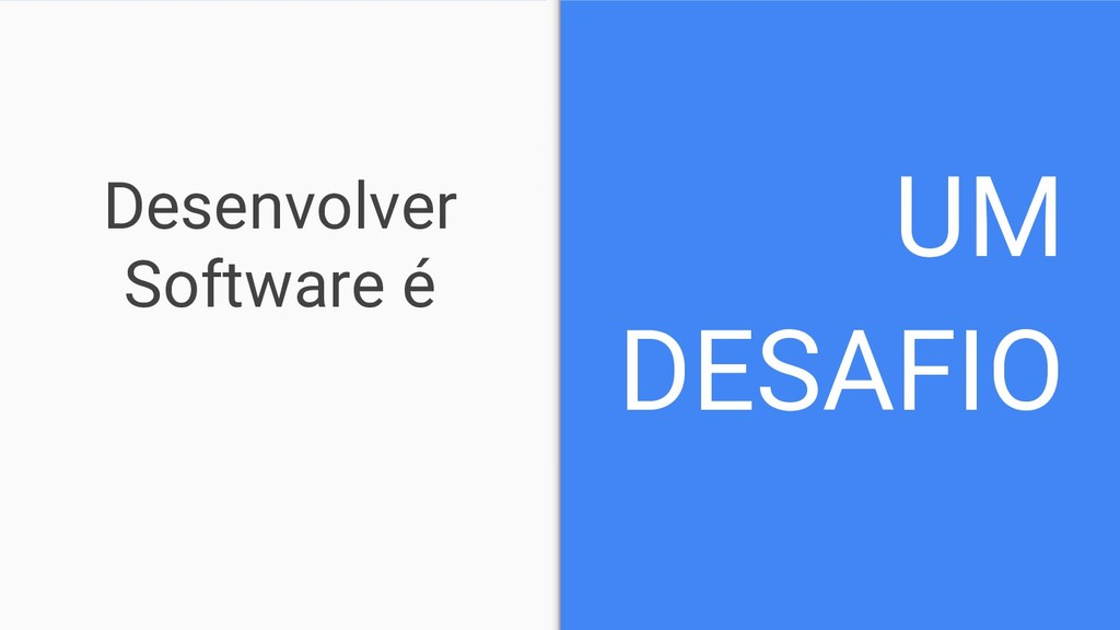 Desenvolver Software é UM DESAFIO