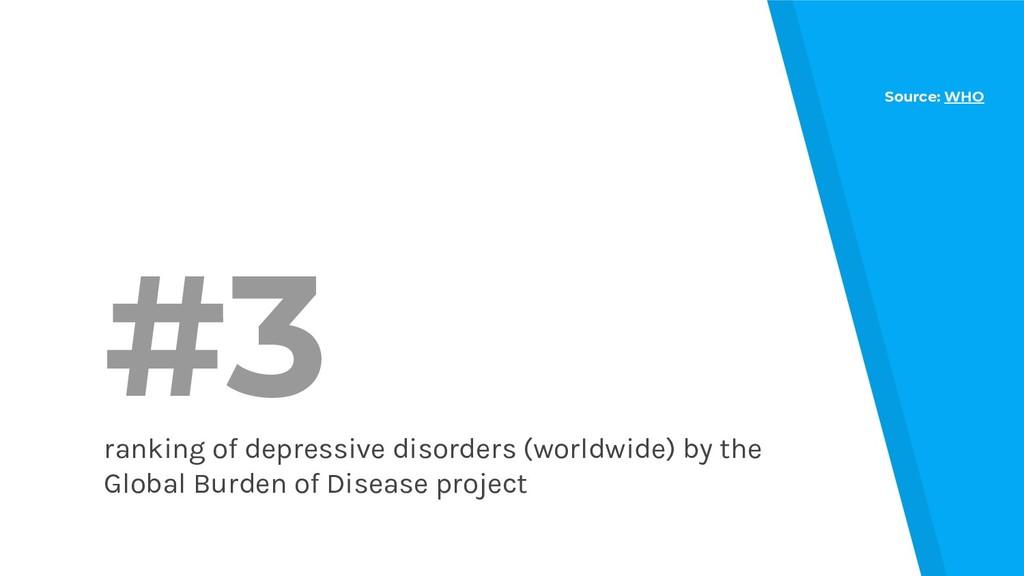 #3 ranking of depressive disorders (worldwide) ...