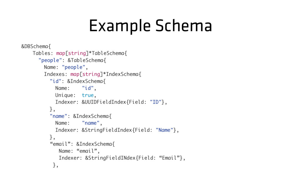 Example Schema &DBSchema{ Tables: map[string]*T...