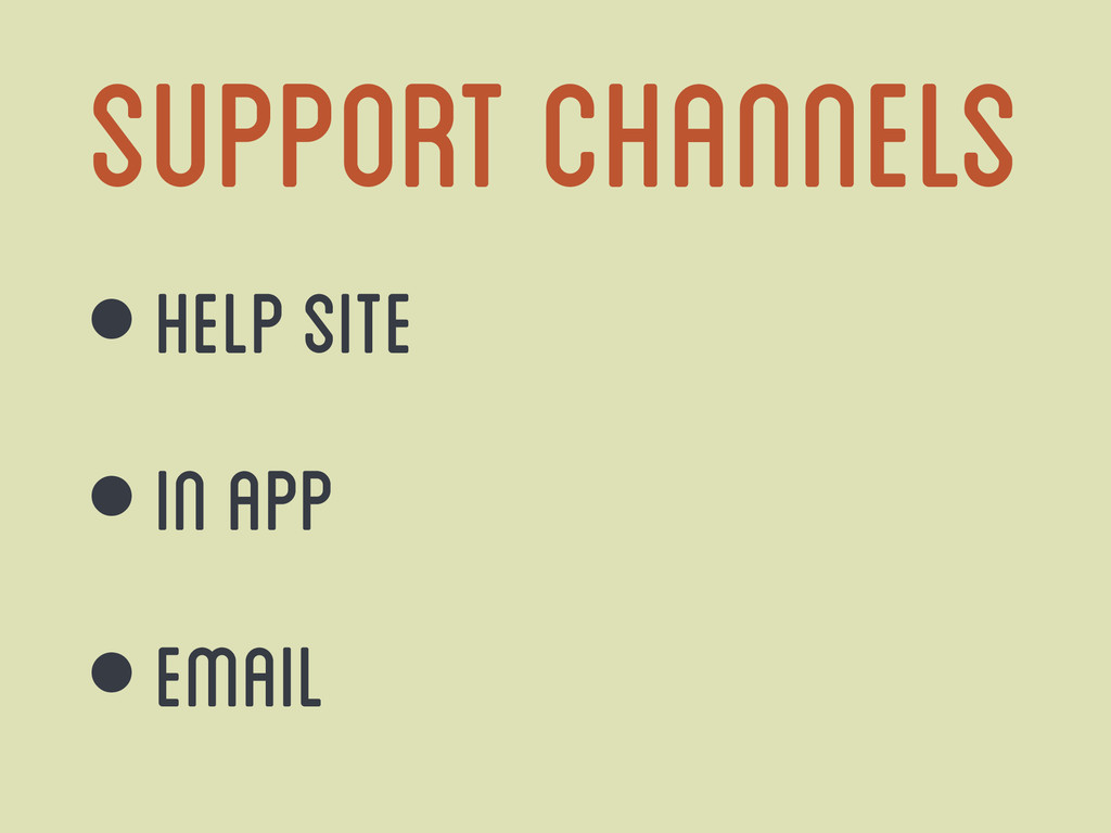 Support Channels • Help Site • In App • Email