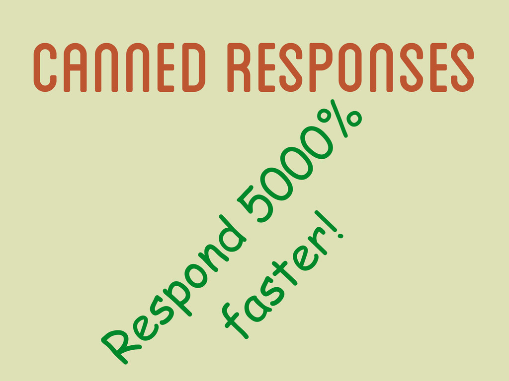 canned responses Respond 5000% faster!