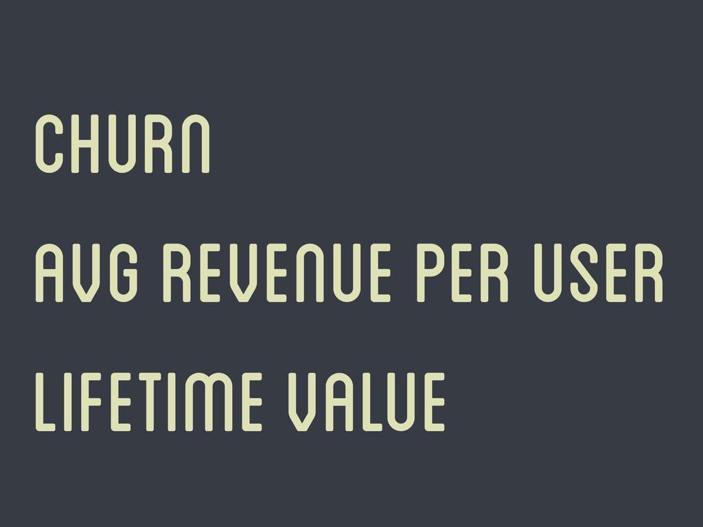 Churn Avg revenue per user lifetime value