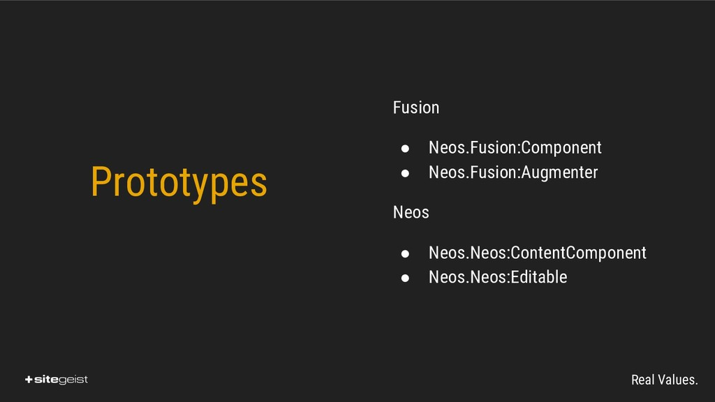 Real Values. Fusion ● Neos.Fusion:Component ● N...