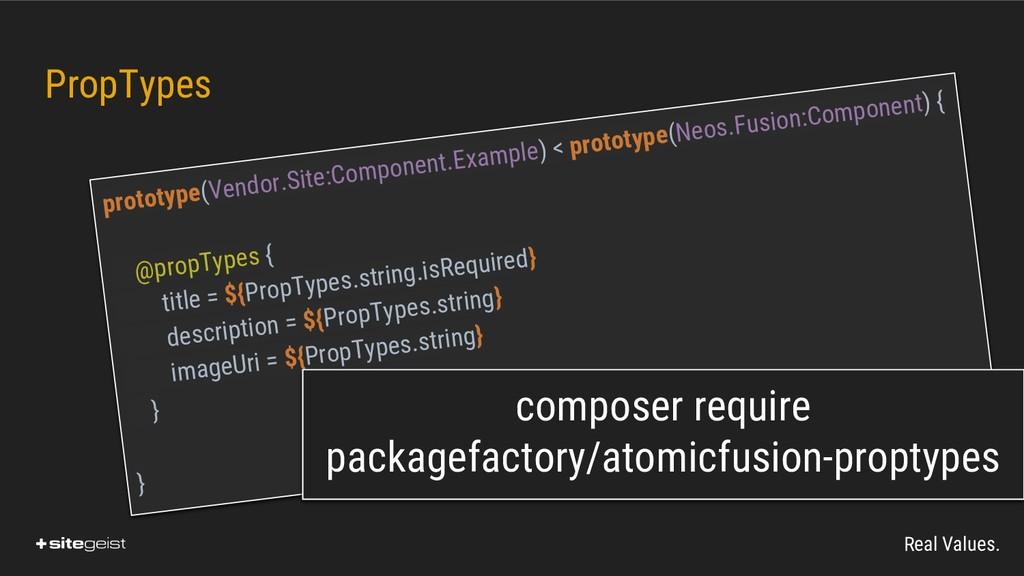 Real Values. PropTypes prototype(Vendor.Site:Co...
