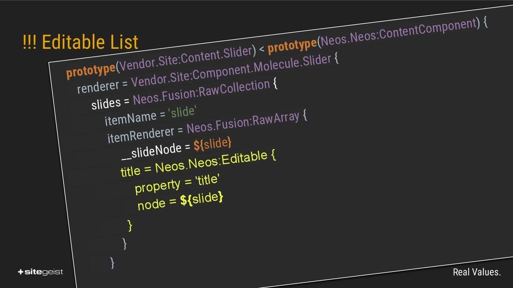 Real Values. !!! Editable List prototype(Vendor...