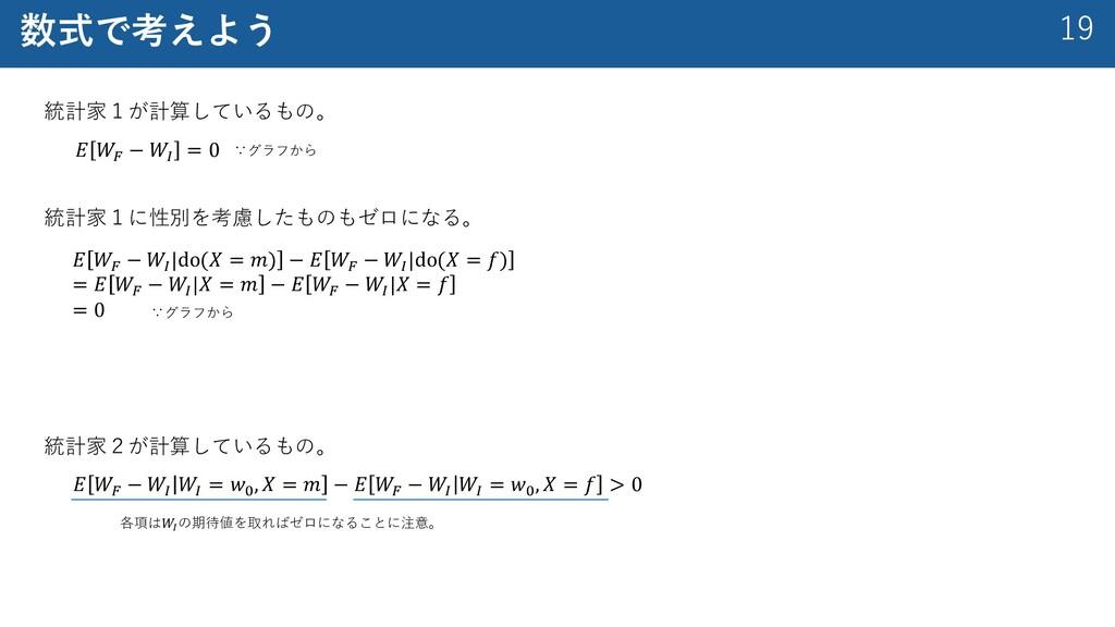 """19 数式で考えよう 統計家1が計算しているもの。 𝐸 𝑊! − 𝑊"""" 𝑊"""" = 𝑤# , 𝑋..."""