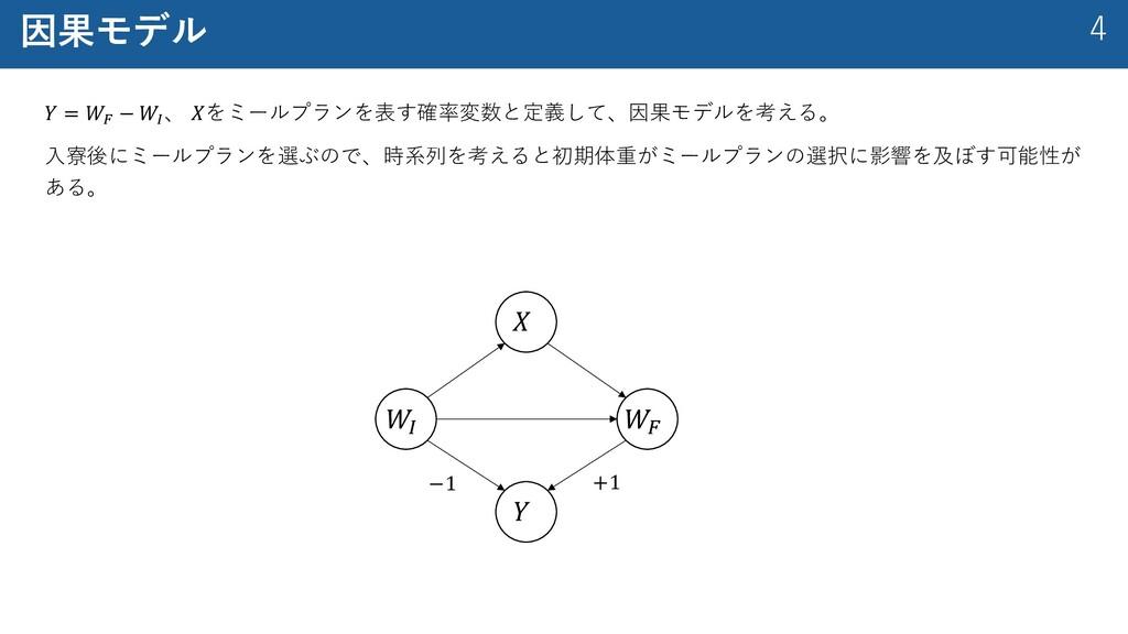 """4 因果モデル 𝑌 = 𝑊! − 𝑊"""" 、 𝑋をミールプランを表す確率変数と定義して、因果モデ..."""
