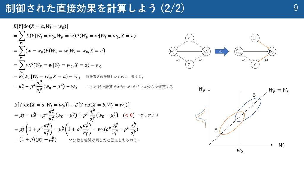 9 制御された直接効果を計算しよう (2/2) 𝐸 𝑌 do 𝑋 = 𝑎, 𝑊& = 𝑤' =...