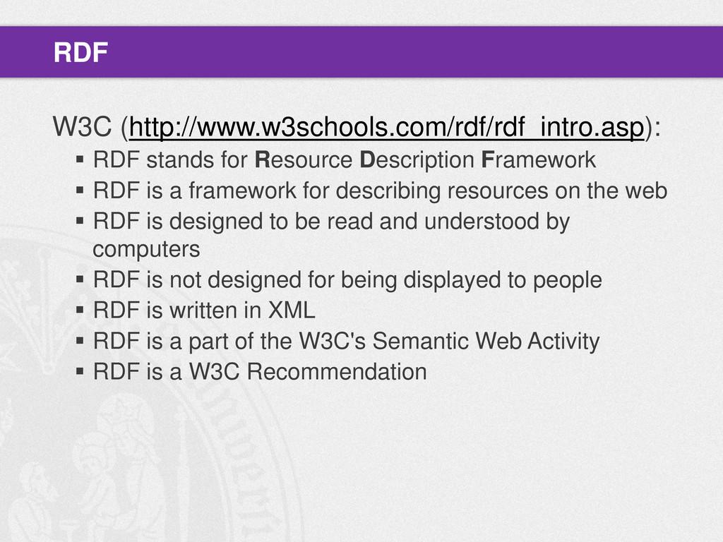 W3C (http://www.w3schools.com/rdf/rdf_intro.asp...