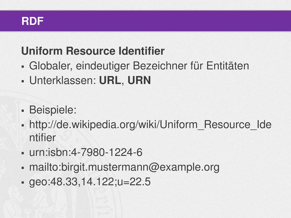 Uniform Resource Identifier  Globaler, eindeut...