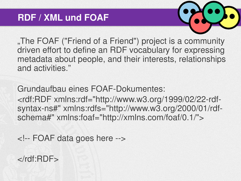 """""""The FOAF (""""Friend of a Friend"""") project is a c..."""