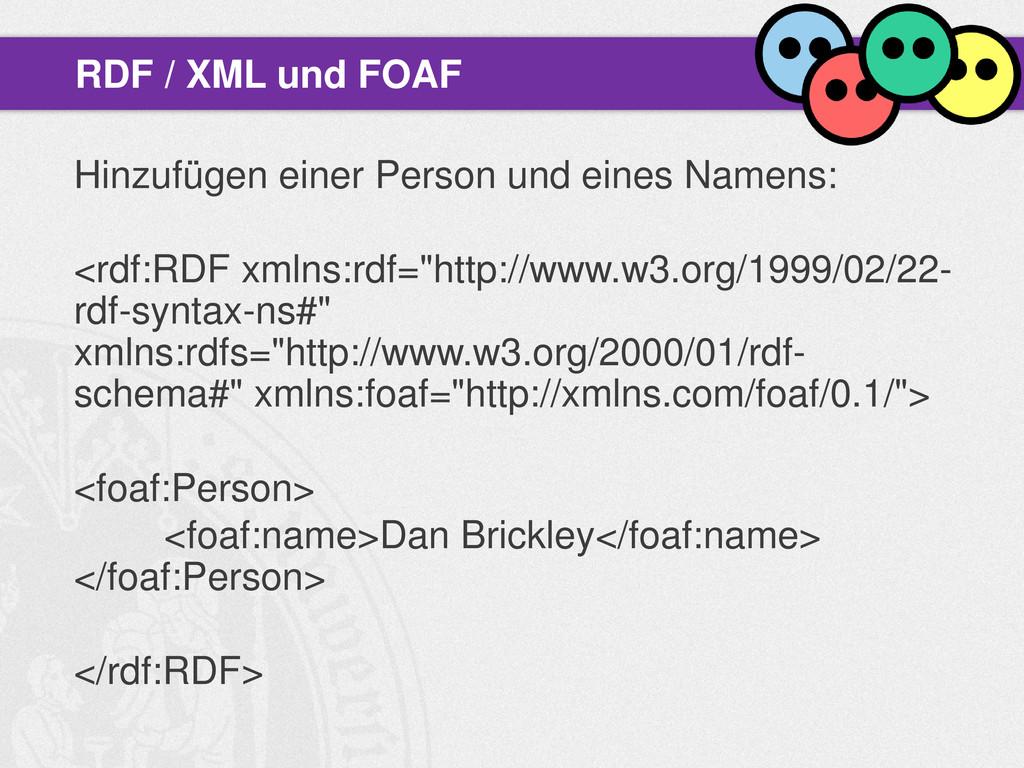 Hinzufügen einer Person und eines Namens: <rdf:...