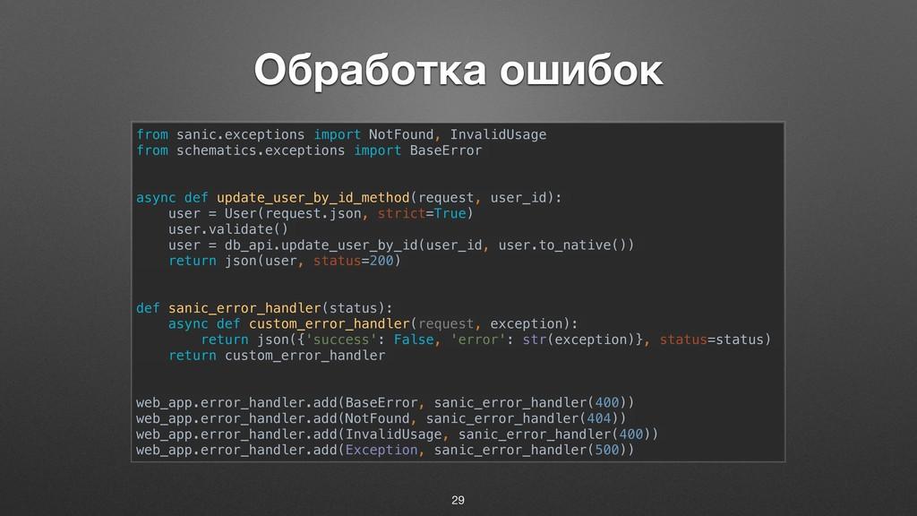 Обработка ошибок from sanic.exceptions import N...