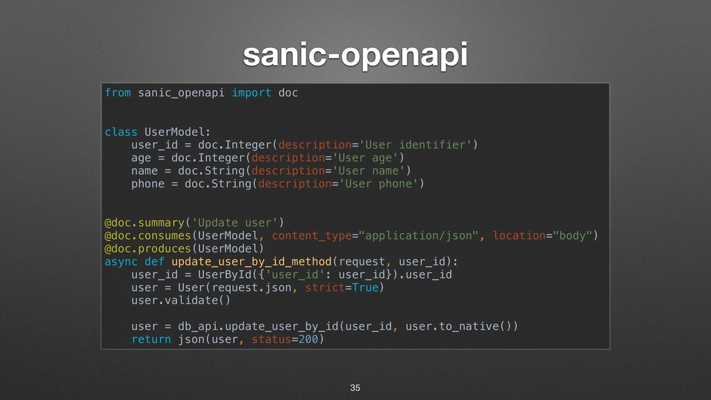 sanic-openapi from sanic_openapi import doc cla...