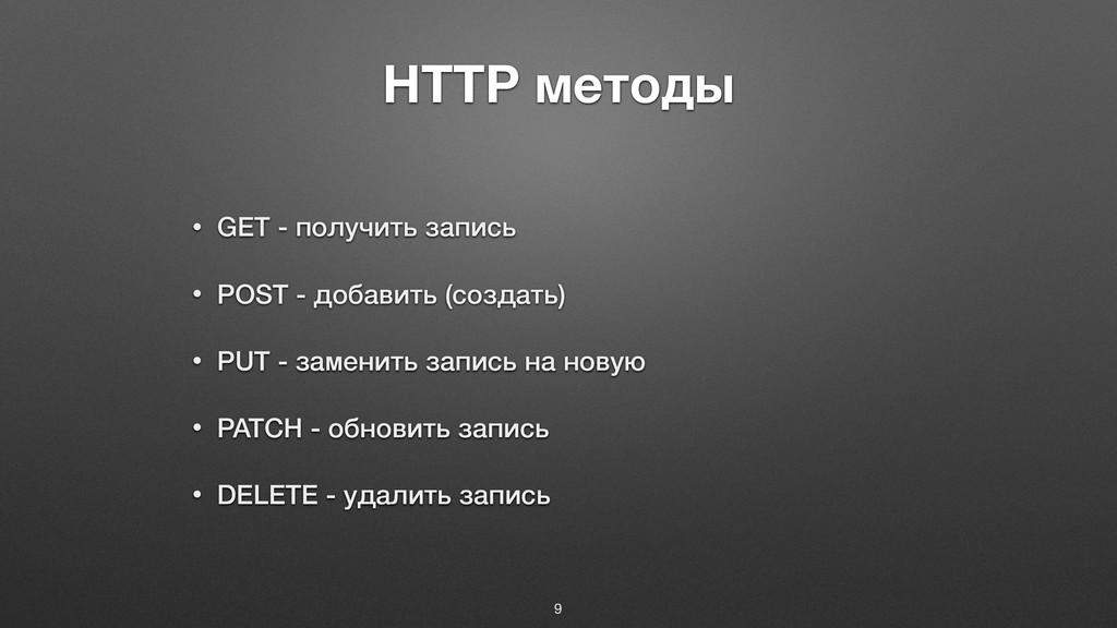 HTTP методы • GET - получить запись • POST - до...