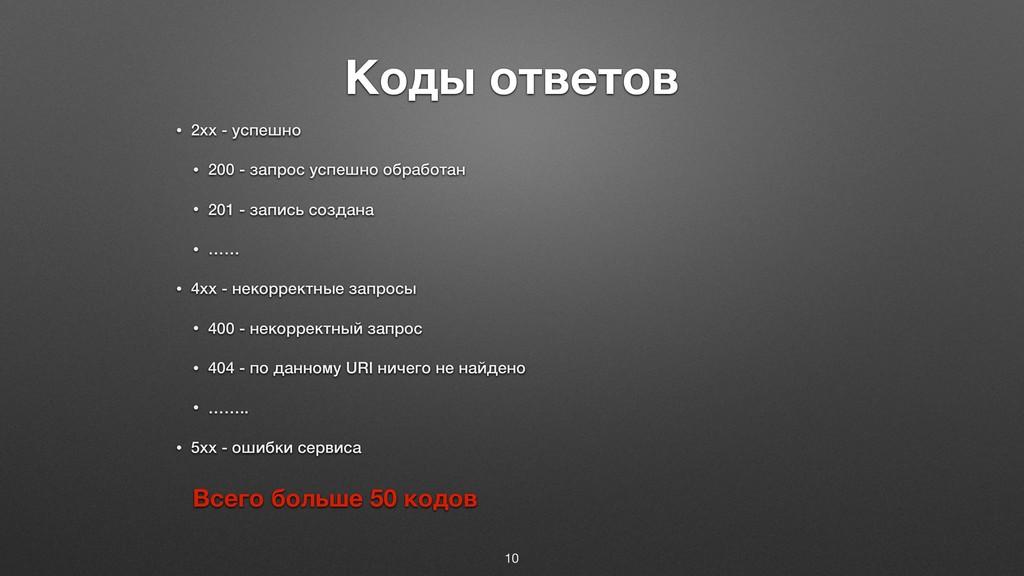 Коды ответов • 2xx - успешно • 200 - запрос усп...