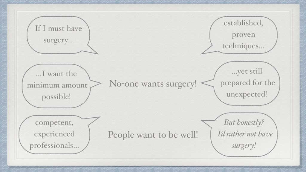 People want to be well! If I must have surgery…...