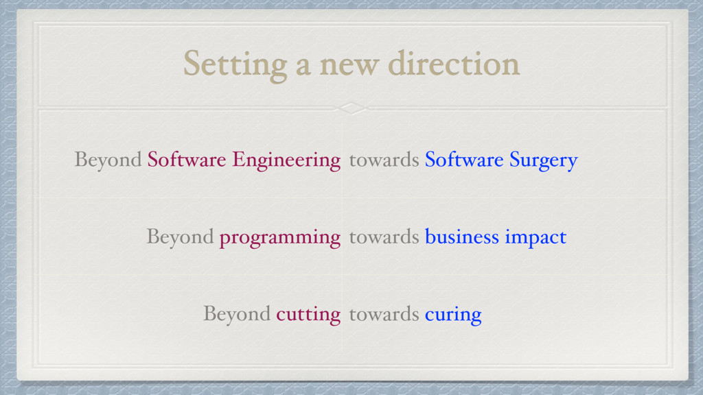 Setting a new direction Beyond Software Enginee...
