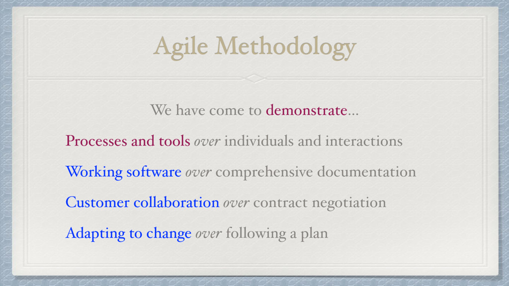 Agile Methodology We have come to demonstrate… ...