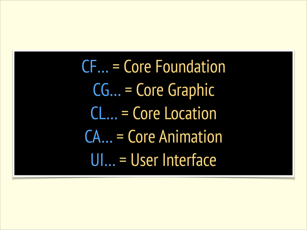 CF… = Core Foundation CG… = Core Graphic CL… = ...