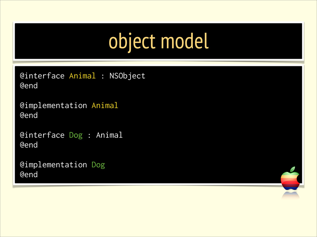 object model @interface Animal : NSObject @end ...