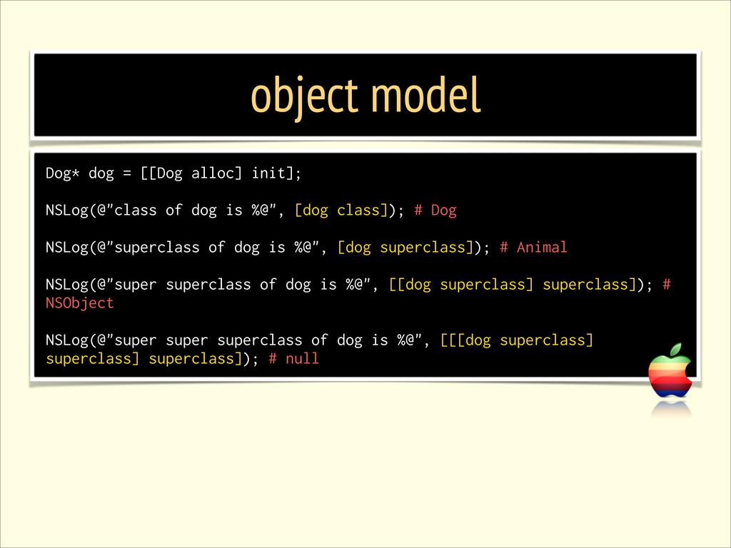 object model Dog* dog = [[Dog alloc] init]; ! N...