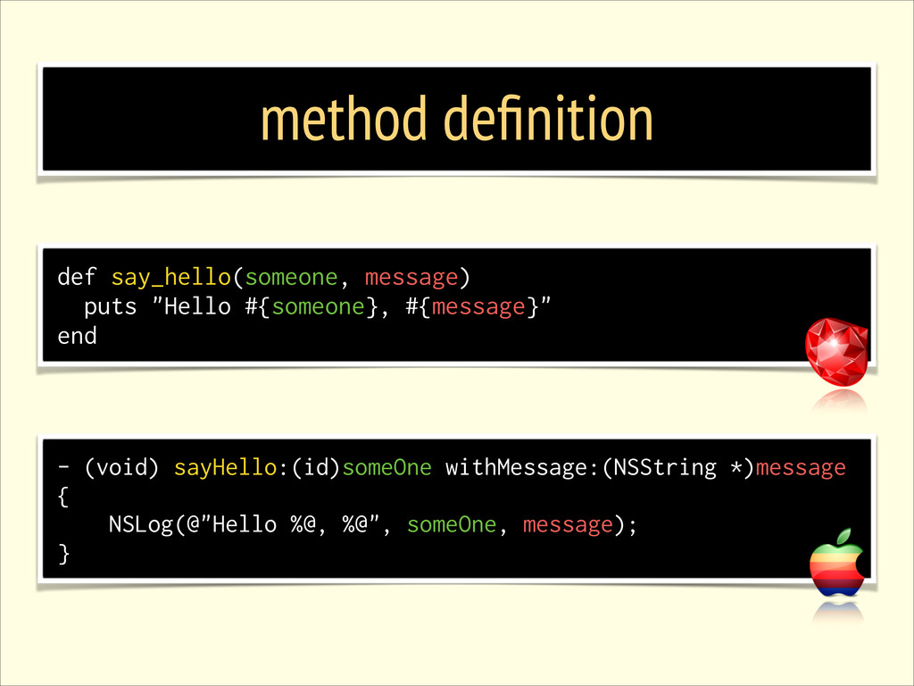 method definition - (void) sayHello:(id)someOne ...