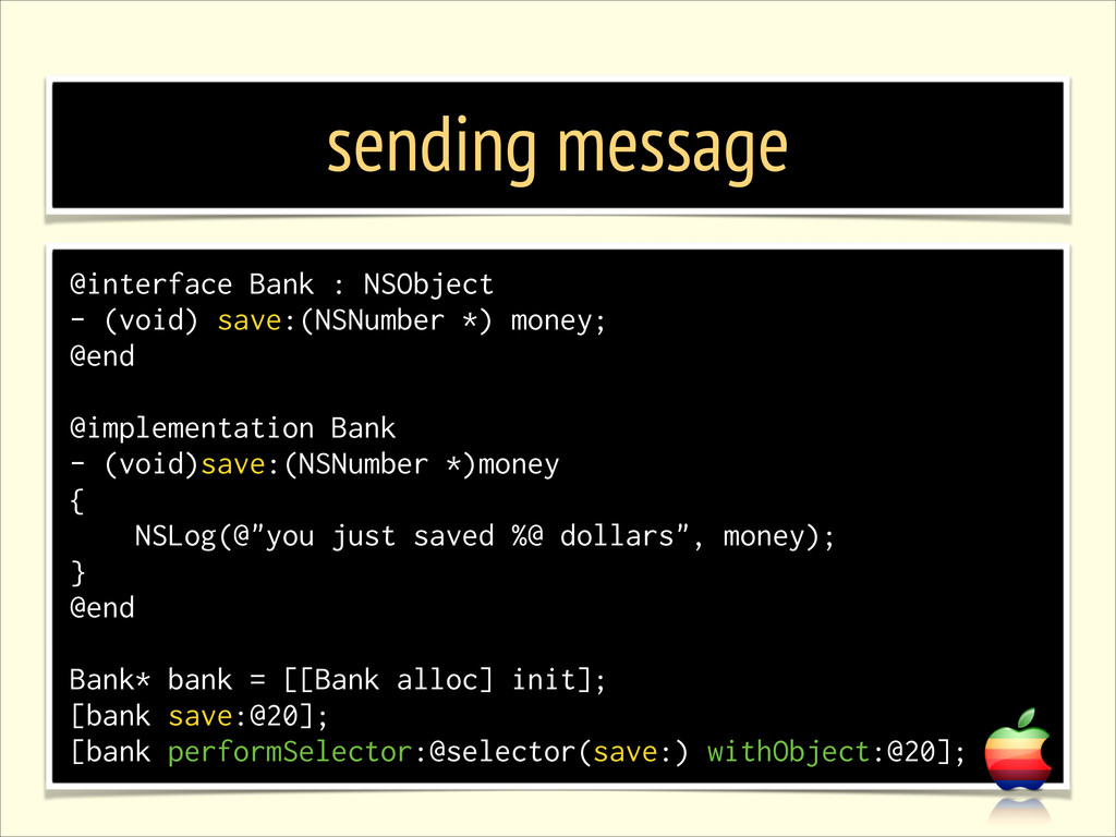 sending message @interface Bank : NSObject - (v...