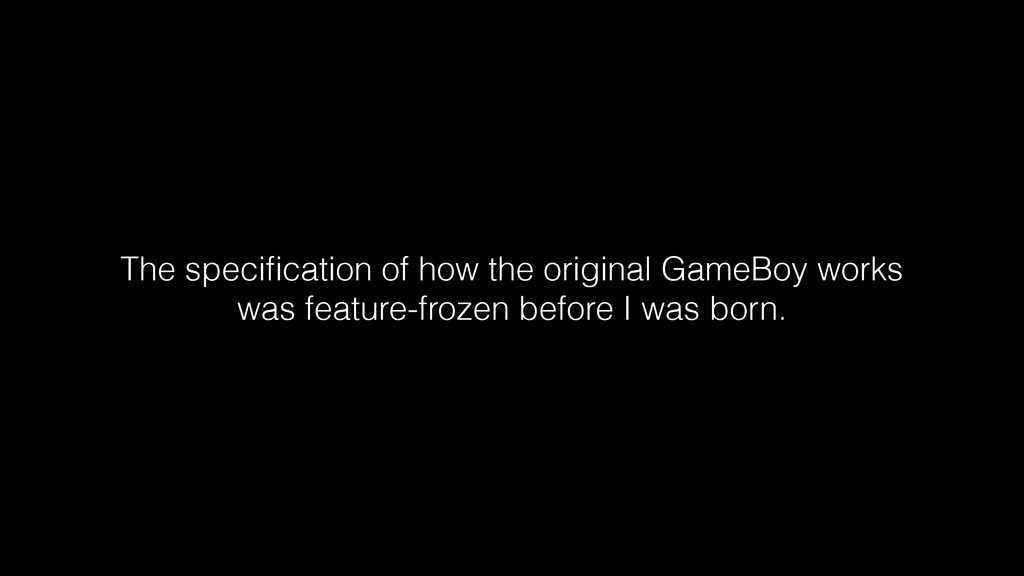 The specification of how the original GameBoy wo...