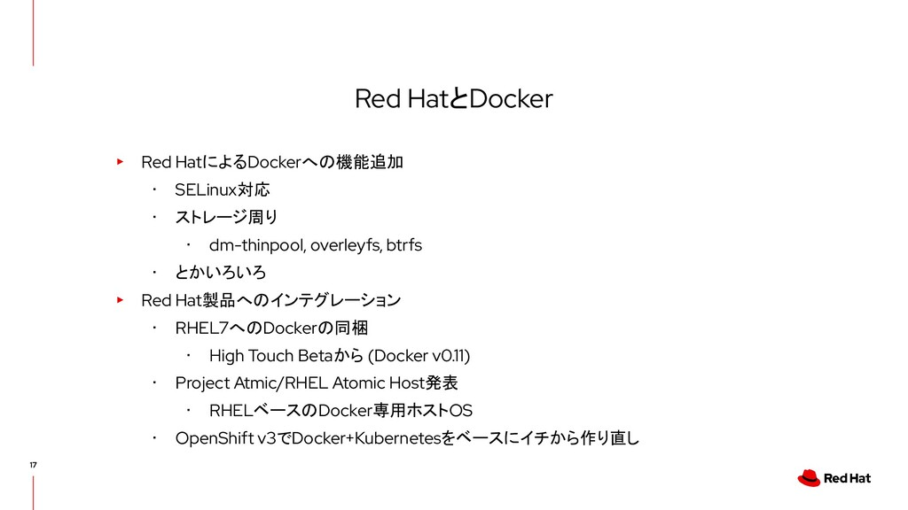 Red HatとDocker ▸ Red HatによるDockerへの機能追加 ・ SELin...