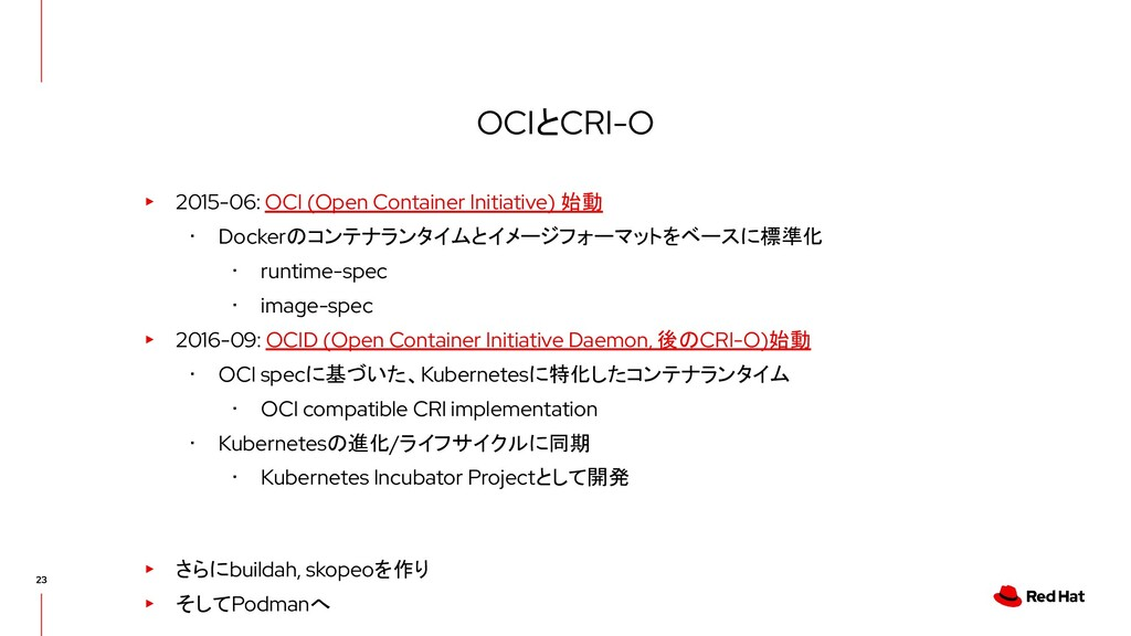 OCIとCRI-O ▸ 2015-06: OCI (Open Container Initia...