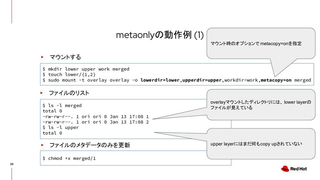 metaonlyの動作例 (1) ▸ マウントする $ mkdir lower upper w...