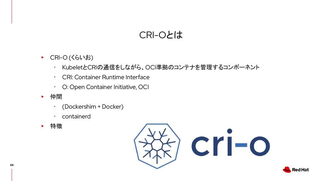 CRI-Oとは ▸ CRI-O (くらいお) ・ KubeletとCRIの通信をしながら、OC...