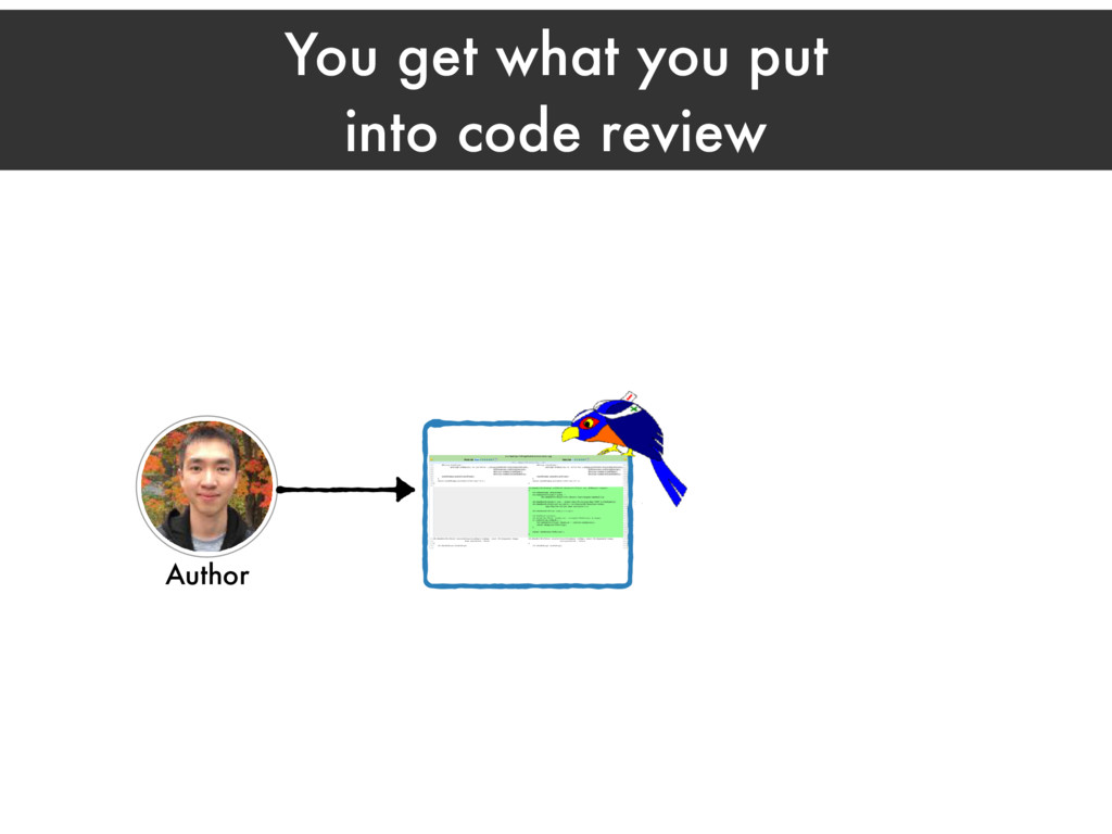 You get what you put into code review Author