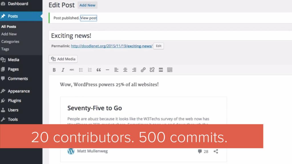 20 contributors. 500 commits.